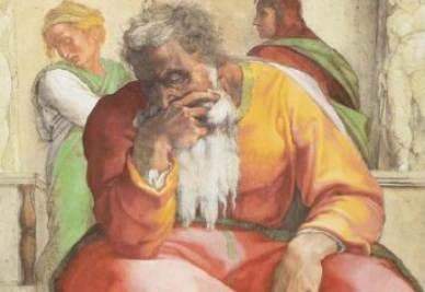 Michelangelo Buonarroti, Cappella Sistina - Il profeta Geremia (particolare)