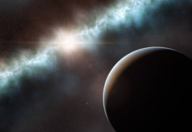 Una raffigurazione artistica del disco intorno alla stella T Cha che forse contiene un nuovo pianeta (Foto ESO/L. Calçada)