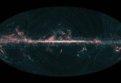 Mappa dell'emissione di monossido di carbonio presente nelle nubi interstellari della Via Lattea: in blu le misure di Planck confrontate con la limitatezza dei dati precedenti (in rosso)