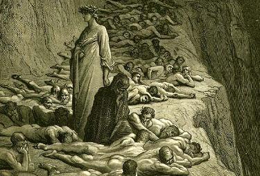 Dante incontra gli avidi, tra cui Adriano V (Illustrazione di Gustavo Dorè)
