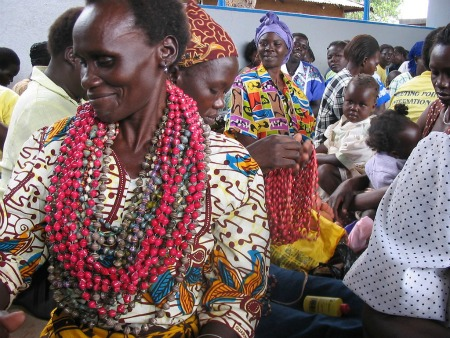 Women selling necklaces in Kampala