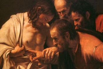 Caravaggio, Incredulità di san Tommaso (1600-01; particolare. Immagine d'archivio)