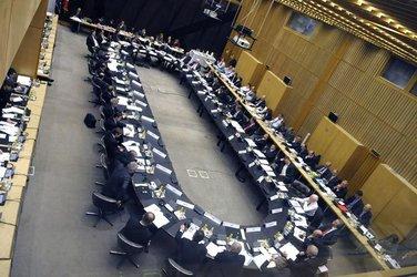 Una seduta di Ecofin, il consiglio dei ministri economici e finanziari europei