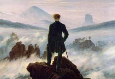 C. D. Friedrich, Viandante sul mare di nebbia (1818; particolare. Immagine d'archivio)