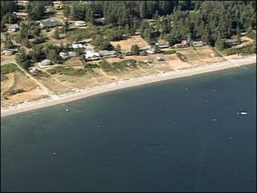 La spiaggia dell'isola di Whidbey dove è stato ritrovato il nono piede mozzato