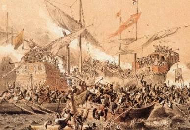 La battaglia di Lepanto, in un dipinto d'epoca (immagine d'archivio)