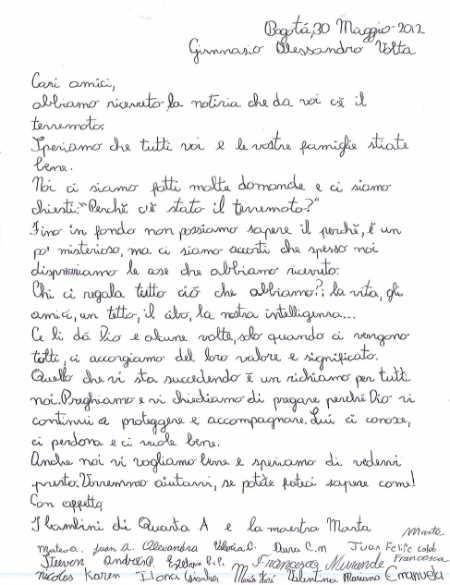 La lettera dei bambini