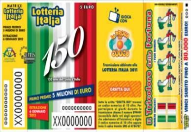 Un biglietto fac-simile della Lotteria Italia