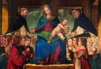 Bernardo Zenale e bottega, La Madonna adorata dai devoti della confraternita del Rosario (Oleggio, 1510 ca.)
