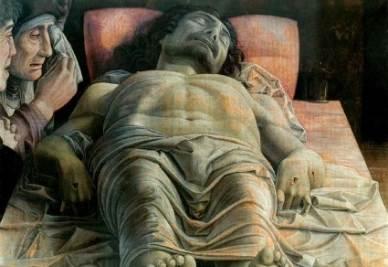 Andrea Mantegna, Cristo morto (1475-78; particolare. Immagine d'archivio)
