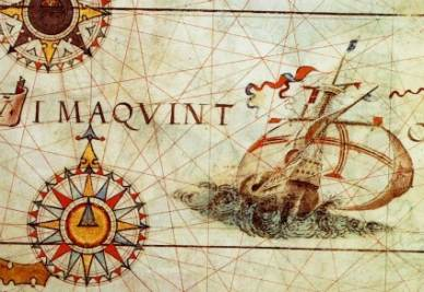 Da un disegno dell'Atlante Miller, 1519 (Immagine d'archivio)
