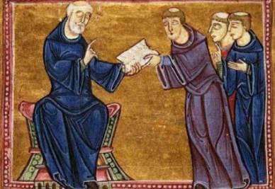 San Benedetto porge la sua Regola a San Gregorio Magno e ad altri monaci; miniatura (St. Gilles, 1129)