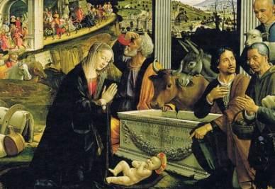 Domenico Ghirlandaio, Adorazione dei pastori, 1485, particolare (imaagine d'archivio)