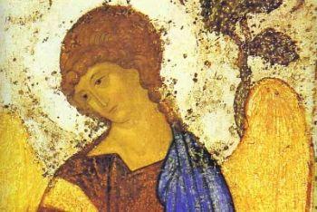 Andrej Rublëv, La Trinità (1422), particolare (immagine d'archivio)