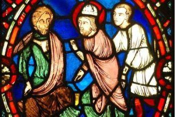 San Biagio di fronte al governatore romano (vetrata francese, XIII sec.)