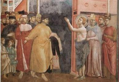 Giotto di Bondone, Leggenda di san Francesco. La rinuncia agli averi