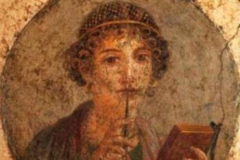 Pompei. Affresco raffigurante medaglione con busto ritratto, cd. Saffo