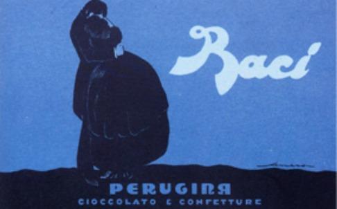 Una storica pubblicità dei Baci Perugina, oggi proprietà della Nestlè