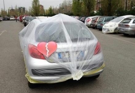 Una delle auto impacchettate da Fiat