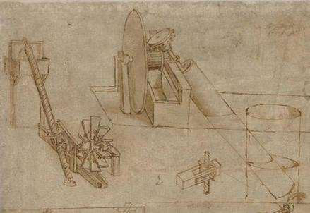 Un dettaglio dello Studio di macchina per sollevare l'acqua contenuto nel Codice Atlantico