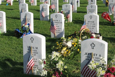 Graves at Fort Logan decorated for Memorial Day