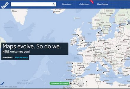 Il sistema di mappe di Nokia, Here (foto dal web)