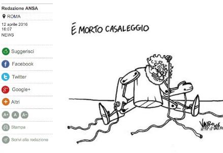 La vignetta di Vauro pubblicata su sito online di Ansa