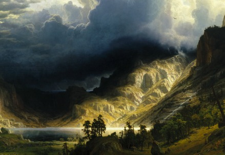A. Bierstadt, Temporale nelle Montagne Rocciose (particolare; 1886)