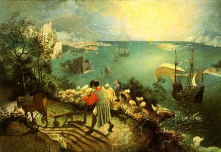 Pieter Bruegel il Vecchio, Paesaggio con il volo di Icaro (1558) (Immagine dal web)