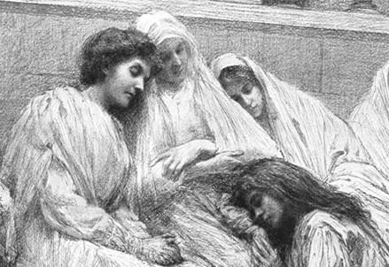 Le dieci vergini della parabola evangelica viste da E. Burnand (Immagine d'archivio)