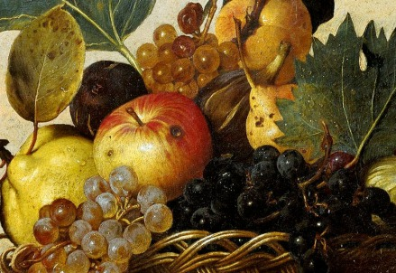 Caravaggio, Canestra di frutta (particolare, 1599)