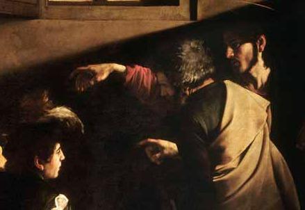 Caravaggio, Vocazione di san Matteo (particolare)