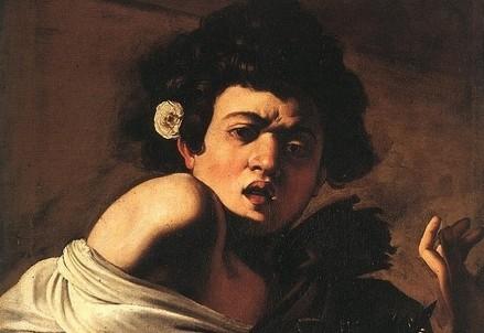 Caravaggio, Ragazzo morso da un ramarro (1595-6, particolare. Immagine d'archivio)