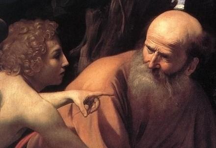 Caravaggio, Sacrificio di Isacco, particolare (1598) (Immagine d'archivio)