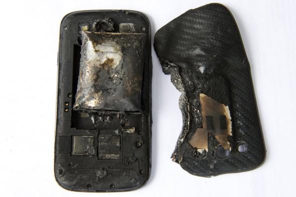 Il cellulare esploso