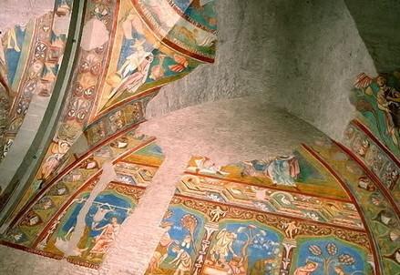 Volta della Sala Gotica, Chiesa dei Santi Quattro Coronati, Roma (particolare) (Immagine d'archivio)