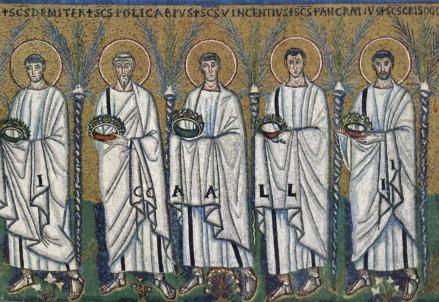 Teoria di santi, Chiesa di Sant'Apollinare Nuovo, Ravenna (VI sec.)