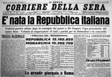 La prima pagina del Corriere con i risultati del referendum