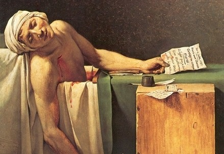 Jacques-Luis david, La morte di Marat (1793) (Immagine d'archivio)