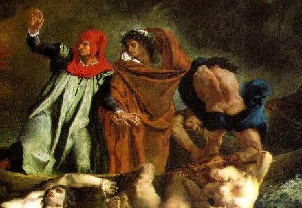 Eugène Delacroix, La barca di Dante (particolare; 1822) (Immagine dal web)