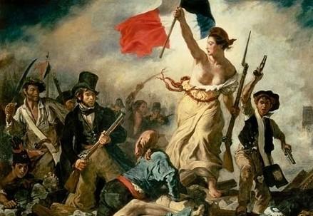 Eugène Delacroix, La libertà che guida il popolo (1830) (Immagine d'archivio)