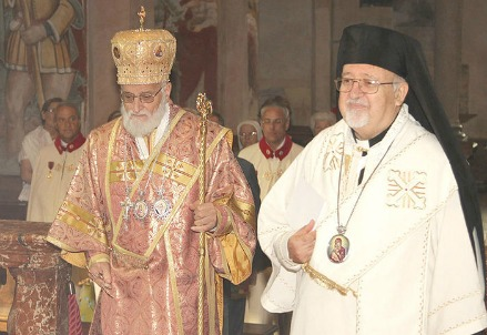 Gregorio III Laham con l'arcivescovo Joseph Jules Zerey (foto Rei Momo)