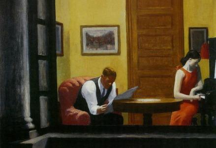 E. Hopper, Room in New York (particolare, 1932) (Immagine dal web)