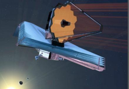 Riproduzione del telescopio JWST (Infophoto)