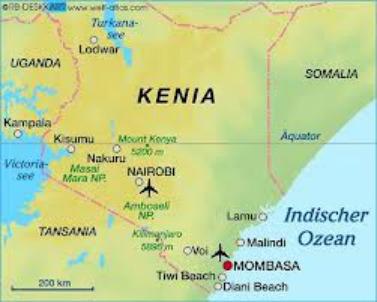 Una mappa del Kenya, dove è avvenuto l'ennesimo attacco a turisti italiani