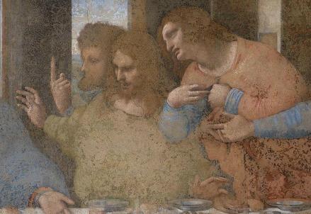 Leonardo Da Vinci, Ultima cena (1494-98, particolare) (Immagine dal web)