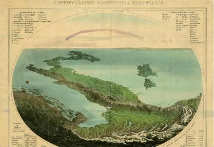 Carta d'Italia di metà Ottocento (archivio ISMAR-Cnr)