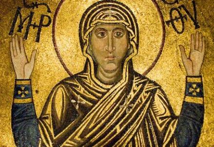 Mosaico di Maria nella Chiesa di Santa Sofia a Kiev (Foto dal web)