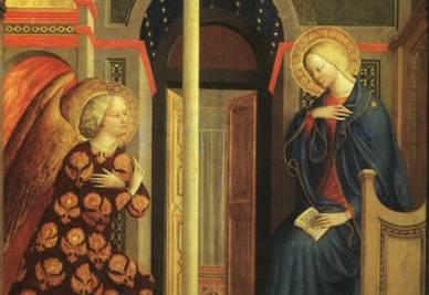 Masolino da Panicale, Annunciazione (1423-24, particolare; immagine d'archivio)