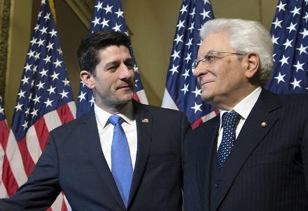 Sergio Mattarella con il presidente della Camera dei Rappresentanti, Paul Ryan (Foto archivio del Quirinale)
